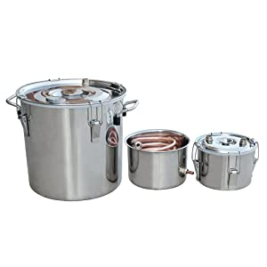 ECO-WORTHY 5 Gal 18 Liters 3 Pots Home Distiller Moonshine Alcohol Boiler Copper Home Brewing Kit with Thumper Keg Stainless Steel (18L Distiller 3 Pots)