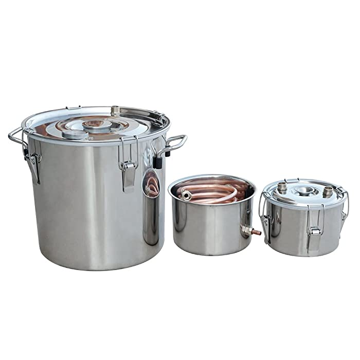 ECO-WORTHY 5 Gal 18 Liters 3 Pots Home Distiller Moonshine Alcohol Boiler Copper Home Brewing Kit with Thumper Keg Stainless Steel (18L Distiller 3 Pots)