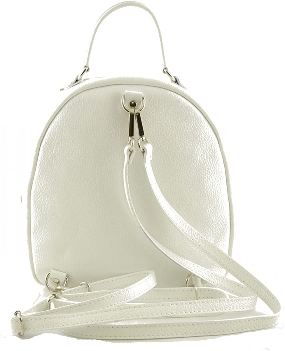 Genuine Leather Woman Backpack Color White