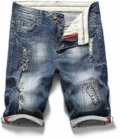 7aef4e0bb3 Embroidered mens shorts Slim Fit Denim Punk Rocker Biker Jeans Pants with Broken  Holes Bule
