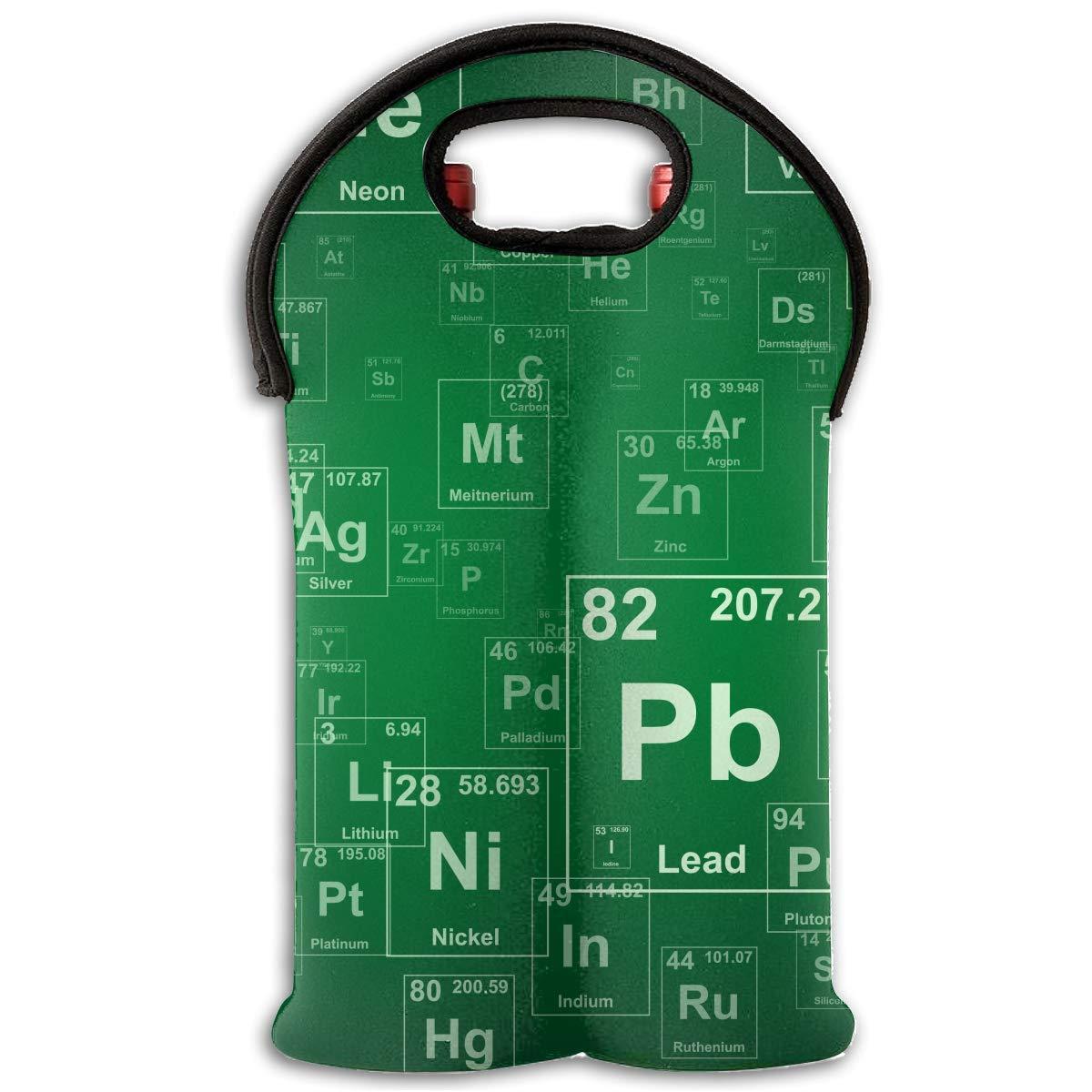 Chemical Element Two Bottle Wine Carrier Tote Bag Neoprene Wine/Water Bottle Holder Keeps Bottles Protected Multicolor6