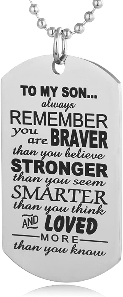 Hand Stamped Dog Tag-You Are Braver Than You Believe-Pendant Necklace Inspirational Gifts For Son Daughter (To my son)