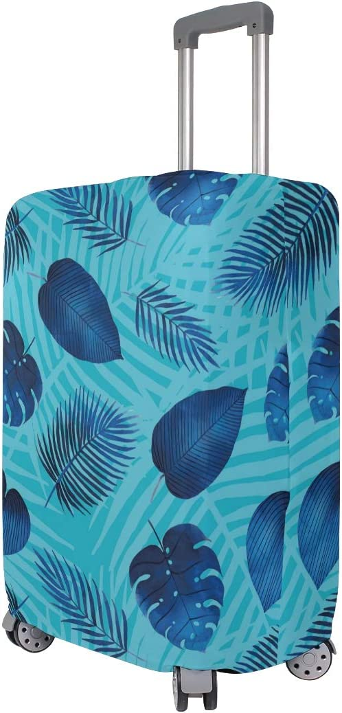 Baggage Covers Tropical Leaves Pattern Blue Color Washable Protective Case