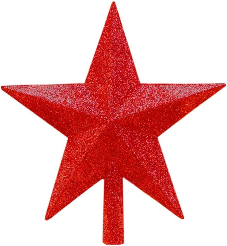 5.9 Inch Christmas Star Tree Topper Xmas Glitter Star Treetop Perfect for Any Size Christmas Tree Sparkling Holiday Party Decorations Festive Decor Ornaments 1 Pack Red