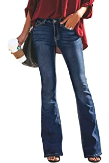 Sidefeel Women Destoryed Flare Jeans Elastic Waist Bell ...