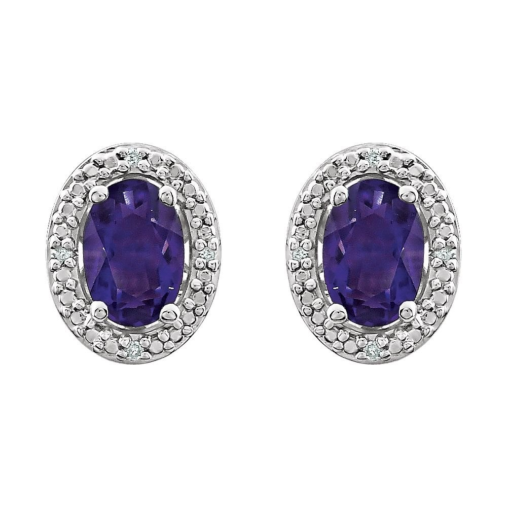 Jewels By Lux Set 925 Sterling Silver Genuine Amethyst Polished Genuine Amethyst And .025 CTW Diamond Earrings