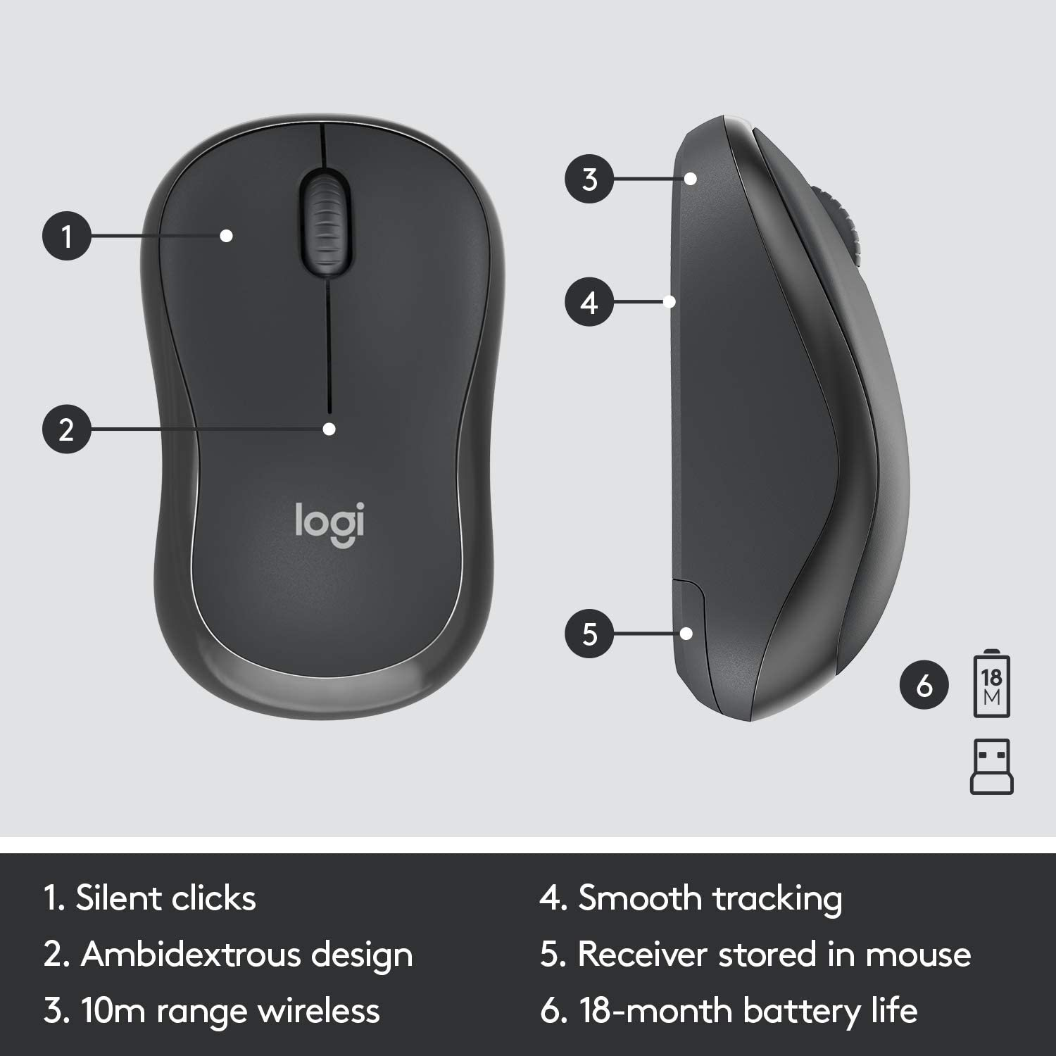 Full Numpad Lag-Free Wireless Logitech MK295 Wireless Mouse /& Keyboard Combo with SilentTouch Technology Off White Advanced Optical Tracking 90/% Less Noise