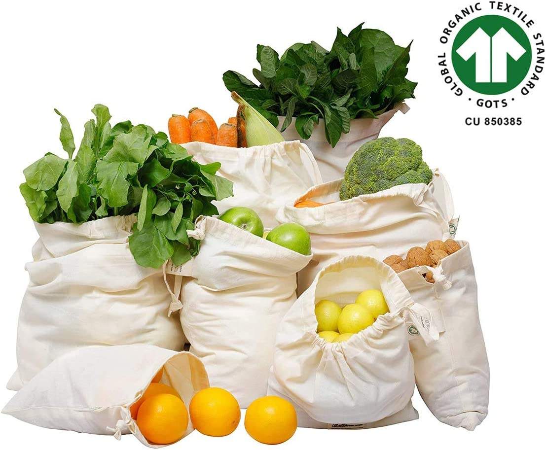 Organic Cotton Produce Bags - Muslin Produce Bags - Reusable Produce Bags - Cloth Vegetable Storage Bags - Cotton Reusable Grocery Produce Bags Set of 8, (2 X Large, 2 Large, 2 Medium, 2 Small)