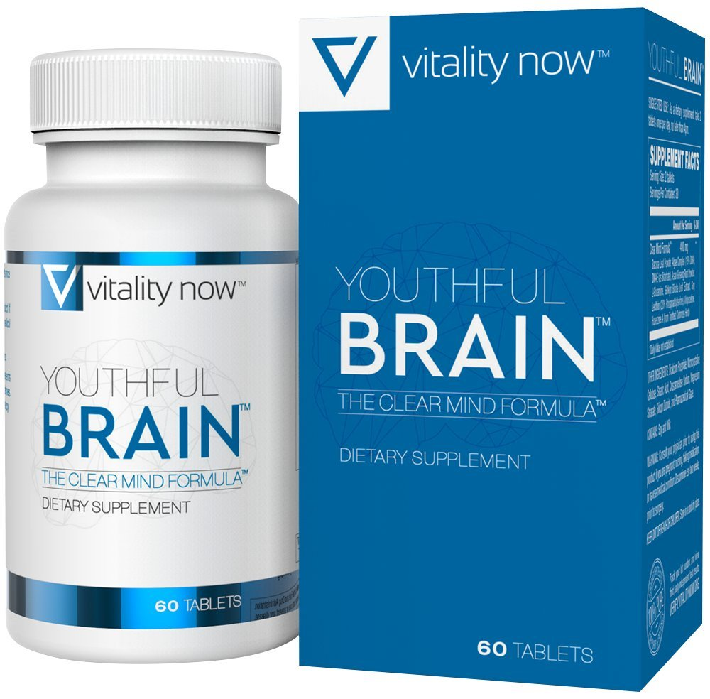 Youthful Brain Memory & Brain Health Supplement - Doctor Formulated Brain Booster with Bacopa Monnieri, Ginkgo Biloba, B12 - Easy to Swallow Tablets - 30-Day Supply (60 Count) by Vitality Now