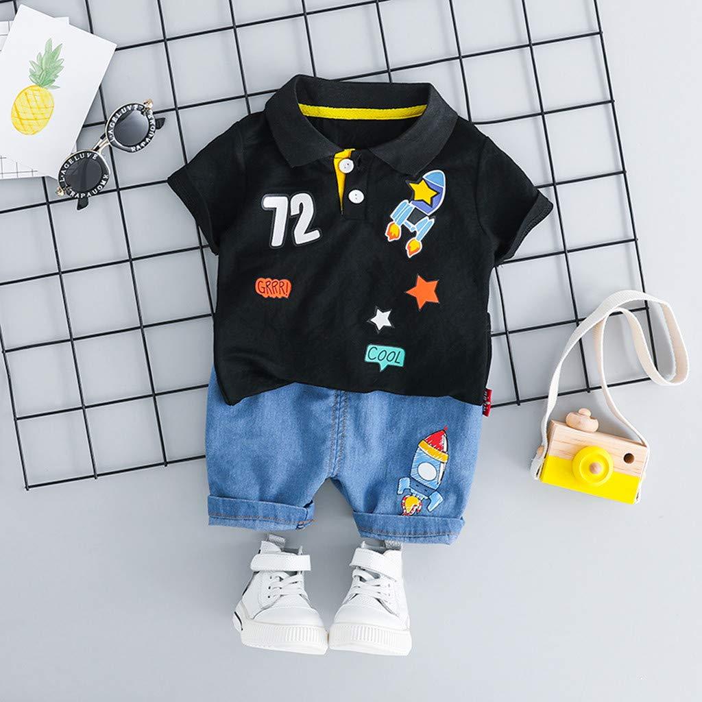 2Pcs SIN vimklo Boys Short Sleeve Rocket Tops T-Shirt Short Pant Casual Outfits