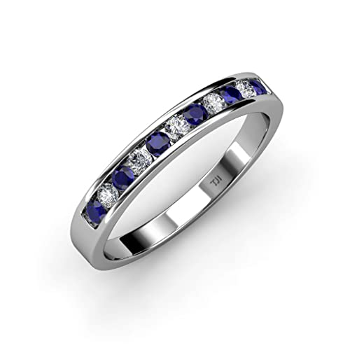 Blue Sapphire and Diamond 11 Stone Channel Set Wedding Band 0.36 ct tw in 14K Gold