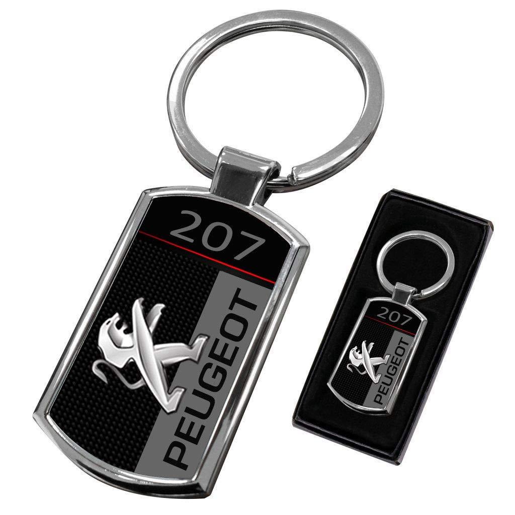 Cargifts Llavero de Metal Cromado para Peugeot 207