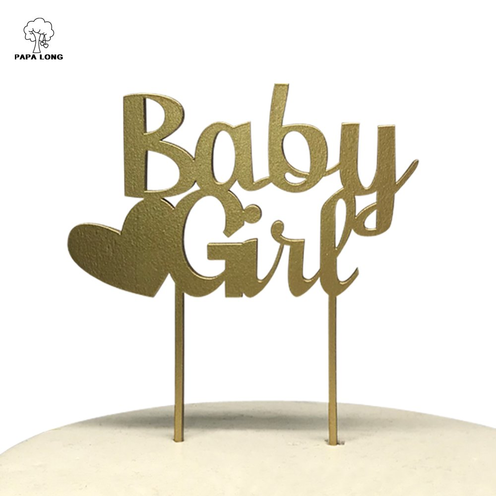 PAPALONG Cake Topper For Baby Shower-Wood Baby Girl Cake Decoration