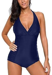 277c0cf58c525 Asvivid Womens Retro Lace Slimming One Piece Monokini Swimdress Tummy  Control Cover Up Swim Dress Swimwear