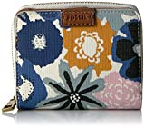 Fossil Emma Rfid Mini Multifunction-navy Floral Wallet