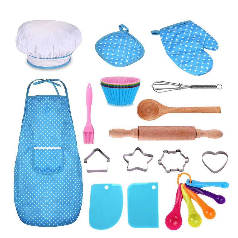 Kids Cooking and Baking Set - 25Pcs Kids Chef Role Play Includes Apron for Little Boys & Girls, Chef Hat, Utensils, Cake Cutter, Silicone Cupcake Moulds for Ages 3+ Little Kids Gift - Blue by GWAWA