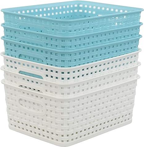 Joyeen Storage Organizer Bin White 6 Pack Woven Basket Clear Storage Baskets Set