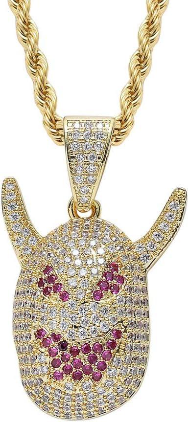 LRKZ Iced out Hip Hop Emoji Monster Demonio con Cuernos Colgante Amuleto Chapado en Oro Bling con Diamante Simulado Collar