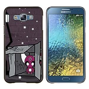 KLONGSHOP // Cubierta de piel con cierre a presión Shell trasero duro de goma Protección Caso - Bestia - Samsung Galaxy E7 E700 //