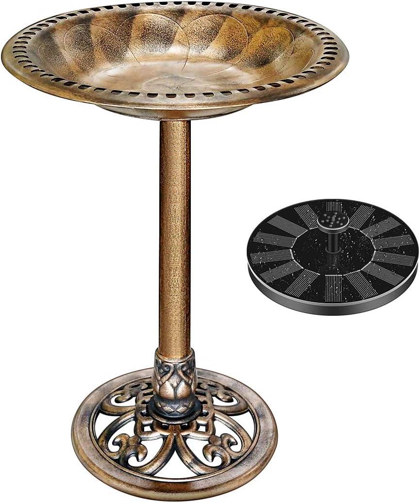 VIVOHOME Polyresin Antique Outdoor Copper Garden Bird Bath and Solar Powered Round Pond Fountain Combo Set