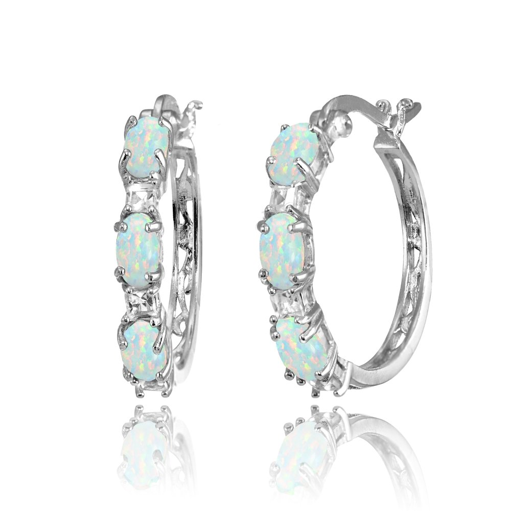 Sterling Silver Oval Simulated White Opal & Princess-cut White Topaz Filigree Hoop Earrings by GemStar USA (Image #3)