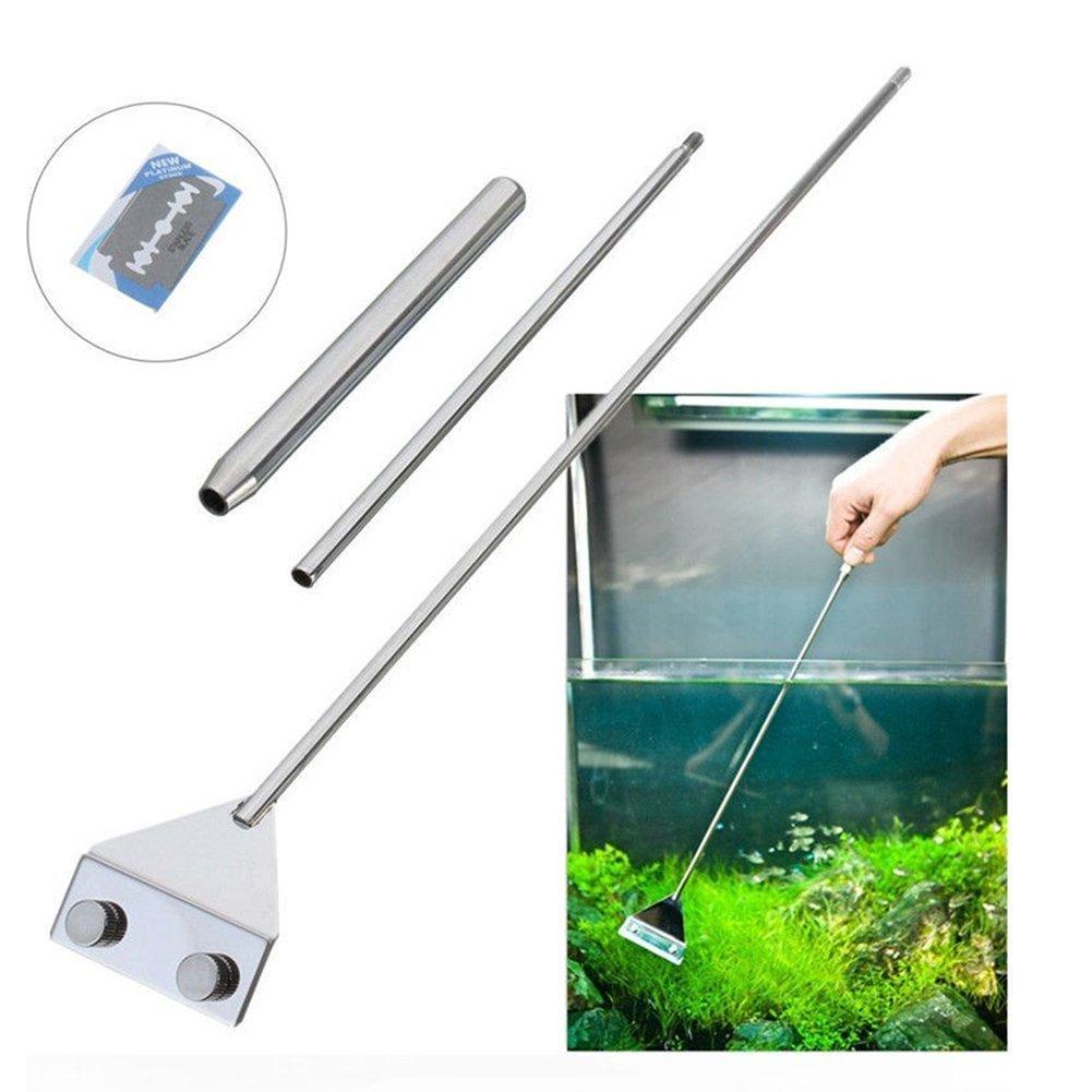 Acier inoxydable Aquarium Grattoir nettoyant pour Aquarium renigung, nettoyant Outils avec lames pour Aquarium Coolper