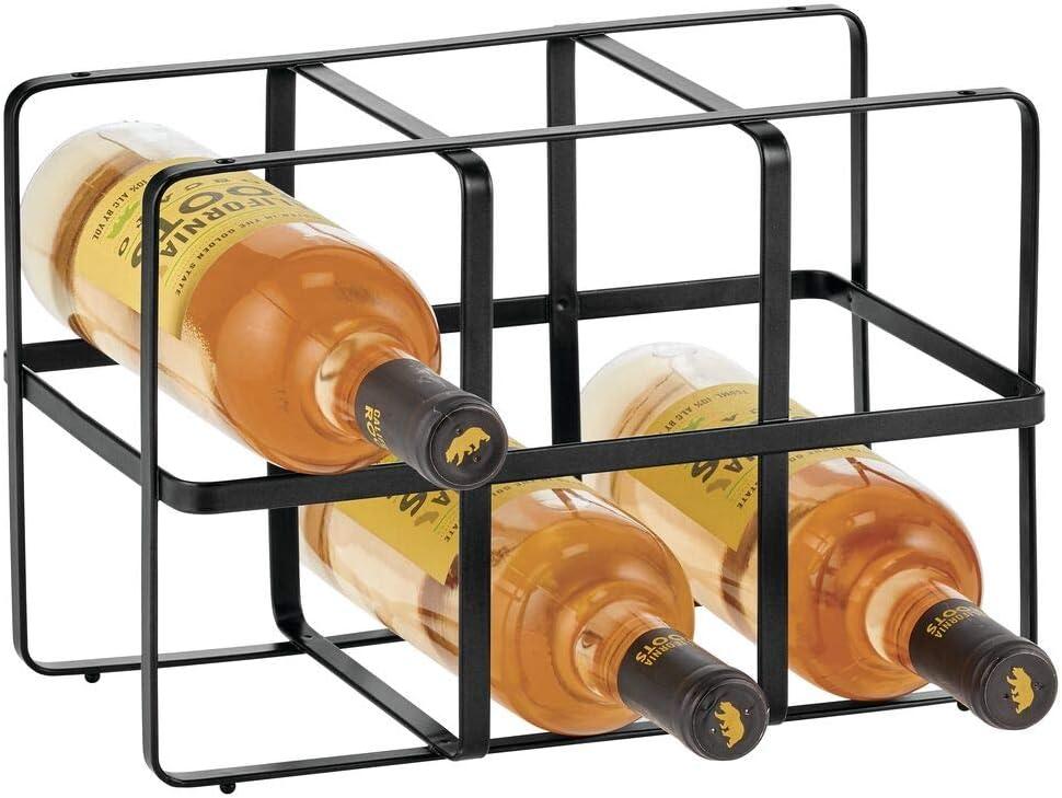 mDesign Botellero para vino – Estante para botellas de atractivo diseño – Botellero de metal con capacidad para 6 botellas – negro mate