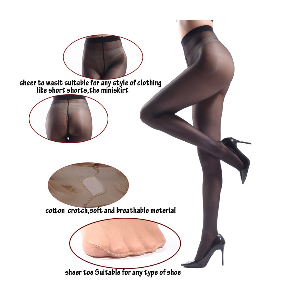 16b77ab35 JIAYI Women s Sheer To Waist Sexy Silk Pantyhose Tights From S To XXXXL at  Amazon Women s Clothing store