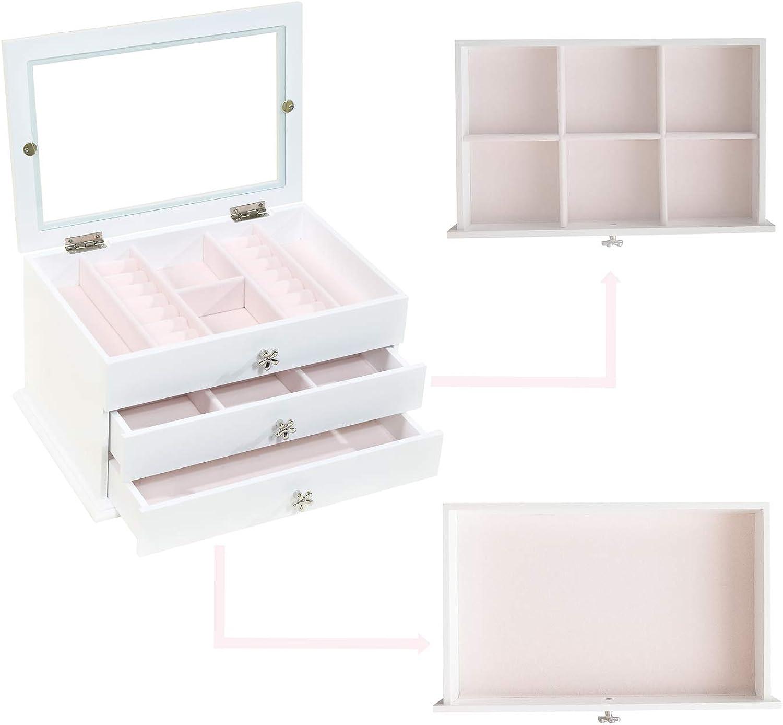 perles et autres petits objets Blanche Avec couvercle en verre boutons boucles doreilles Bo/îte /à bijoux Dainty Wei/ß Pour bagues Pour femme