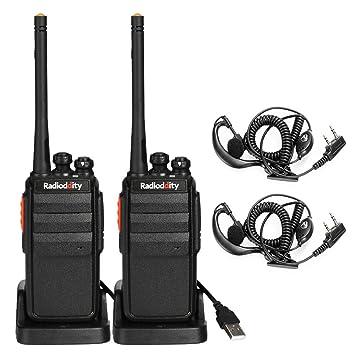 Radioddity R2 PMR446 Walkie Talkie sin Licencia Emisoras de Caza 16 Canales Cargador USB con Auriculars