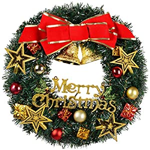 DearHouse Christmas Wreath, Merry Christmas Decorated Pine Wreath, Artificial Garland Ornament Gifts Holiday Wreath for Christmas Party Decor, Front Door Wreath,Gift Box Included 7