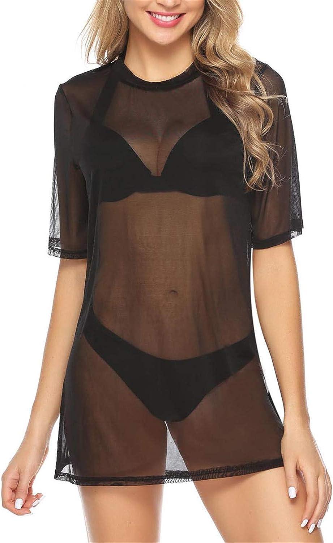 Hawiton Camisola de Playa para Mujer Sexy Vestido de Transparente Traje de Baño Cover Up Bikini Cover up