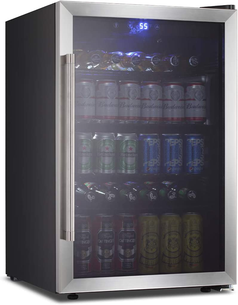 OKADA Beverage Refrigerator or Wine Cooler 120 Can or 36 Bottles with Glass Door for Beer, Soda or Wine Mini Fridge freestanding for Home, Office or Bar Drink Freezer for Party