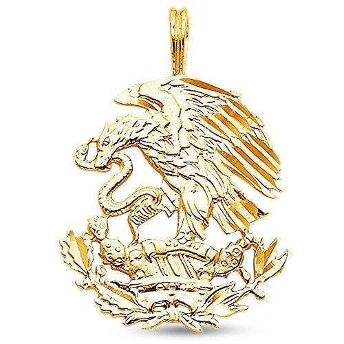 - Sonia Jewels 14K Yellow Gold Diamond-Cut Ornate Mexican Eagle Pendant Charm (23x20 mm)