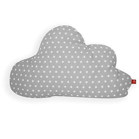 La Fraise Rouge 4251005602706 Antoine - Almohada (forma de nube), diseño de estrellas, color gris y blanco