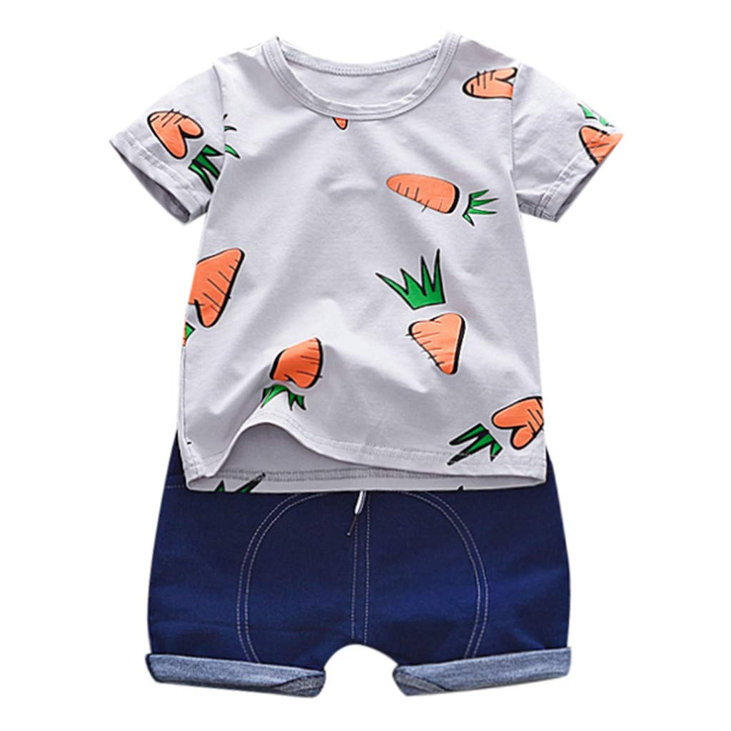 NUWFOR Toddler Baby Kids Boys Carrots T-Shirt Tops Tee Solid Short Casual Outfit Set(Gray,6-12 Months)