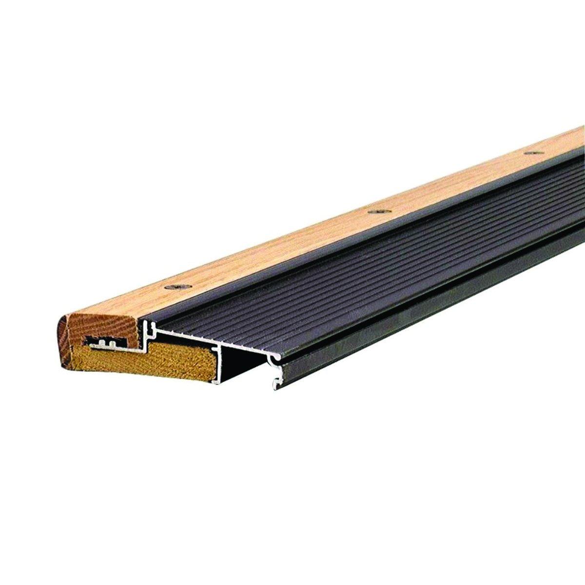 Adjustable 4-9/16'' Wide Aluminum and Hardwood Inswing Door Threshold - #99087