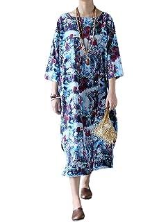 MatchLife Femme Longue Robe Ample Imprimée Kimono Oversize Manches 3 4  Tunique en Lin et 305e2f70a38d