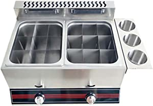 Wgwioo Gas Deep Fryer, Commercial Desktop Gas Fryer, Stainless Steel Large Capacity Ouble Cylinder Fryer, 2 Cylinder Gas Fryer