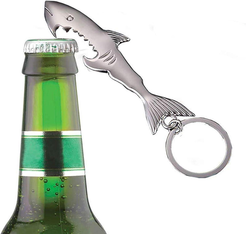 Zerywan Key Chain Bottle Beer Opener Keychain 2 Packs Shark and Fist Shaped Key Ring Nice Gift for Men Silver