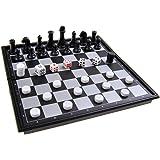 Jeu de société magnétique (version mini de voyage): Échecs, Backgammon - pions magnétiques, tablier pliant, 15x15x1.5cm, Mod. SC53810 (DE)