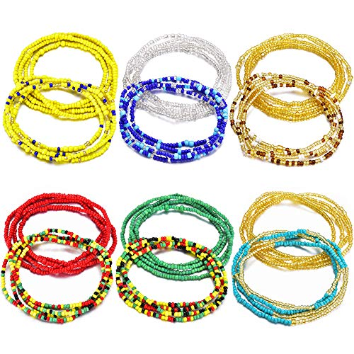 Sunmoon 12Pcs Beads Waist Set for Women Girls African Beaded Body Chain Waist Belly Chain Stretchy Elastic String Multi-Color Necklace Bracelet Anklet Sexy Bikini Summer Jewelry