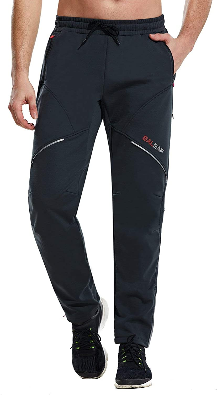 BALEAF Mens Cycling Pants Biking Cold Weather Thermal Fleece Winter Mountain Bike Running Windproof Workout