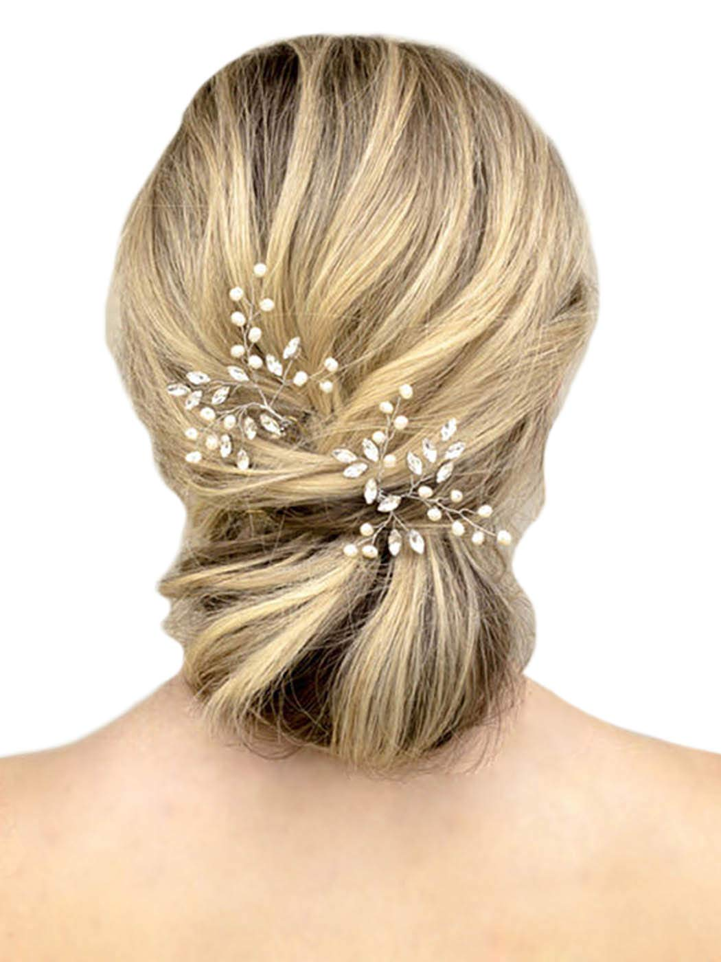 Gold bridal veil hair accessory silver 3 inch set of 6 DIY wire hair pins craft supply