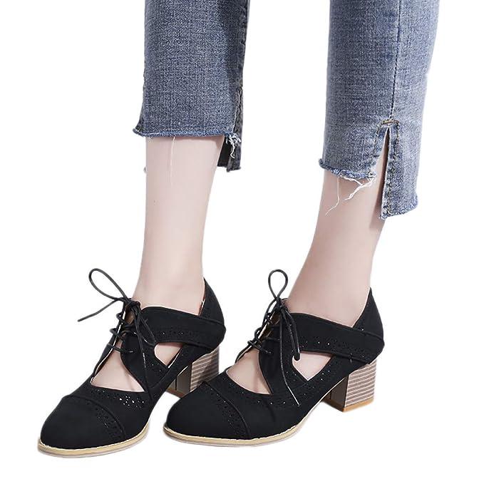 c7fe33e60a2 Sharemen Women s Shoes Square High Heel Lacing Ankle Boots Solid Color  Hollow Shoes Sandals(Black