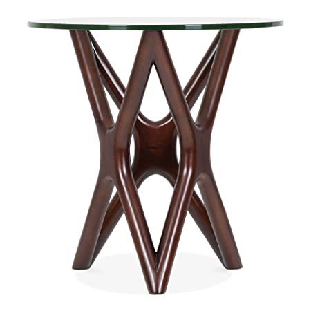 Star Glass Top Side Table Walnut 56cm Amazon Co Uk Kitchen Home