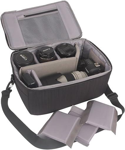 Nuevo Bolso de Cámara DSLR lente caso de partición acolchada con inserto Organizador De Viaje Bolsa Bolsa