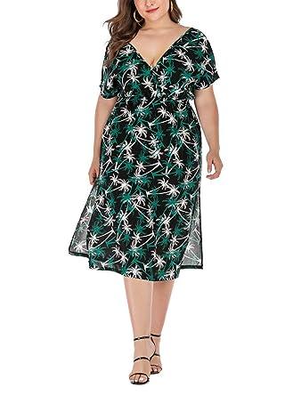 Vestido Falda de Playa de Gran tamaño con Cuello en V y Falda ...