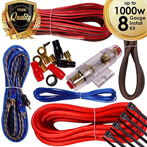1000w Amp Wire - Complete 1000W Gravity 8 Gauge Amplifier Installation Wiring Kit Amp PK1 8 Ga Red - For Installer and DIY Hobbyist - Perfect for Car/Truck/Motorcycle/RV/ATV