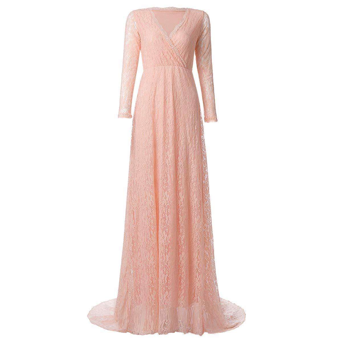 IBTOM CASTLE Women Long Maxi Gown V Neck Lace Bridesmaid Evening Dress